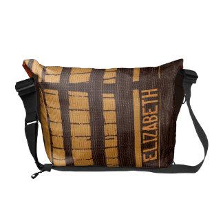 Add Name Stripe Orange Brown Messenger Bag