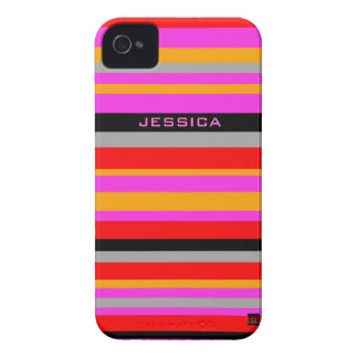 Add Name Stripe Pink iPhone 4 Case-Mate Case