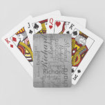 "add name to get personalized gray steel playing cards<br><div class=""desc"">Create your own typography design,  personalized with your name repeated on a gray steel background in different font styles and sizes</div>"