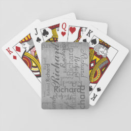 add name to get personalized gray steel playing cards
