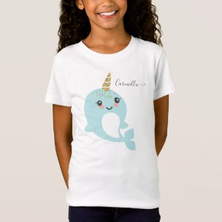 Add Name to Narwhal Birthday Party T-Shirt