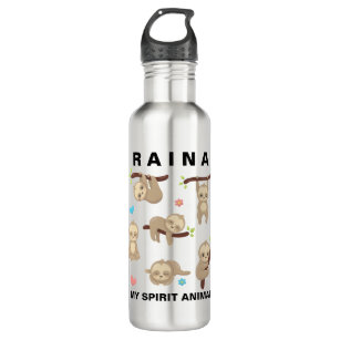 bcec33b185 Add Name to Personalized Sloth - My Spirit Animal Water Bottle