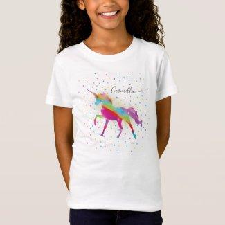 Add Name to Rainbow Glitter Unicorn Birthday T-Shirt