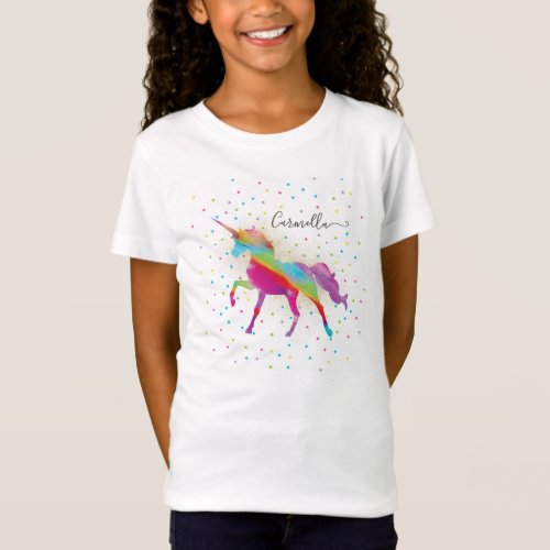 Add Name to Rainbow Gold Glitter Unicorn Birthday T_Shirt