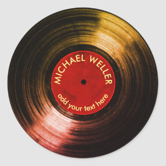 add-name vinyl record classic round sticker