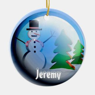 Add Name, Year Cute Christmas Snow Globe Ornament