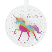 Add Name & Year to Rainbow Gold Glitter Unicorn Ornament