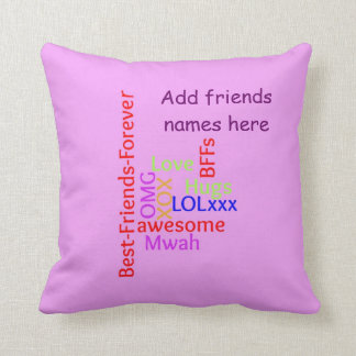 Add names BFF best friends forever TagCloud pillow Throw Pillow