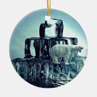 Add Own SLOGAN To Save Arctic Polar Bear Planet Ceramic Ornament