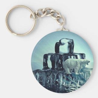 Add Own SLOGAN To Save Arctic Polar Bear Planet Keychain