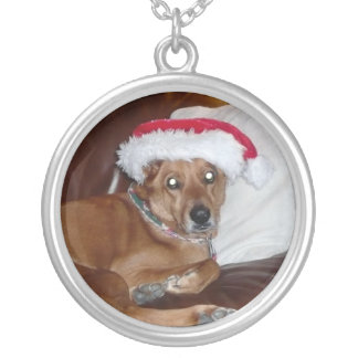 Add Pet Photo Round Sterling Silver Necklace