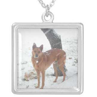 Add Pet Photo Square Sterling Silver Necklace