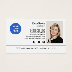 Add Photo And Logo Real Estate Professional Business Card at Zazzle