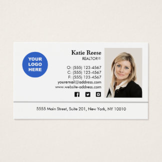 Add Photo and Logo Real Estate Professional Business Card