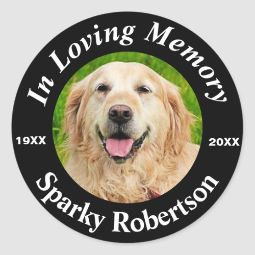 Add Photo and Name Pet Memorial Classic Round Sticker