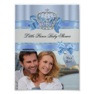 Add Photo Baby Shower Boy Blue Little Prince Crown Poster