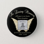 """Add Photo Custom  Memorial Button<br><div class=""""desc"""">Add a photo to this comforting gold memorial angel wings design.</div>"""