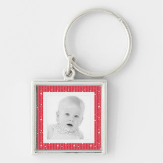 Add Photo Cute Red and Pink Stripes Keychain