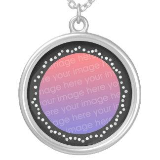 Add photo gray white circle black frame necklace