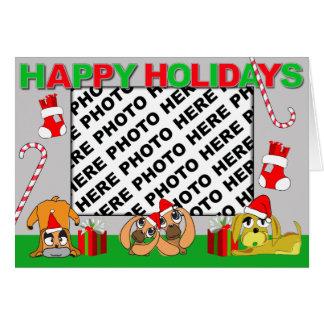 Add Photo Happy Holidays Card Puppy Family 4
