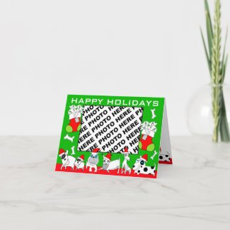 Add Photo Happy Holidays Card Puppy Family Green card