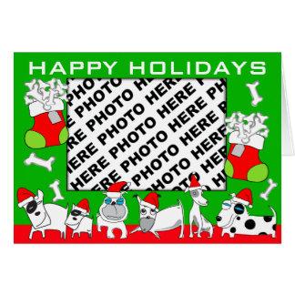 Add Photo Happy Holidays Card Puppy Family Green