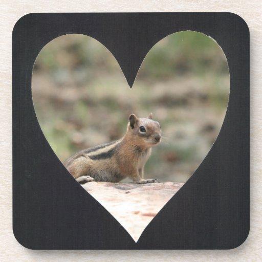 Add Photo Heart Frame(black) Beverage Coaster