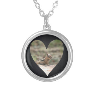 Add Photo Heart Frame(black) Silver Plated Necklace