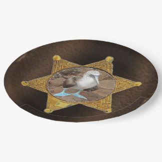 Add photo lawman badge paper plate