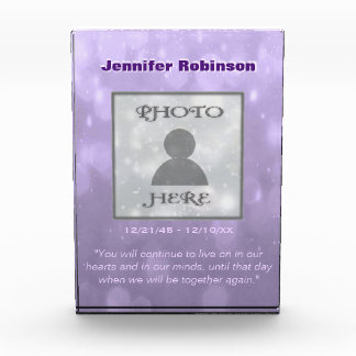 Add Photo | Memorial | Purple Bokeh Acrylic Award