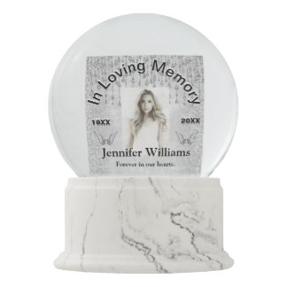 Add Photo Memorial Silver Angel Tear Glitter Snow Globe