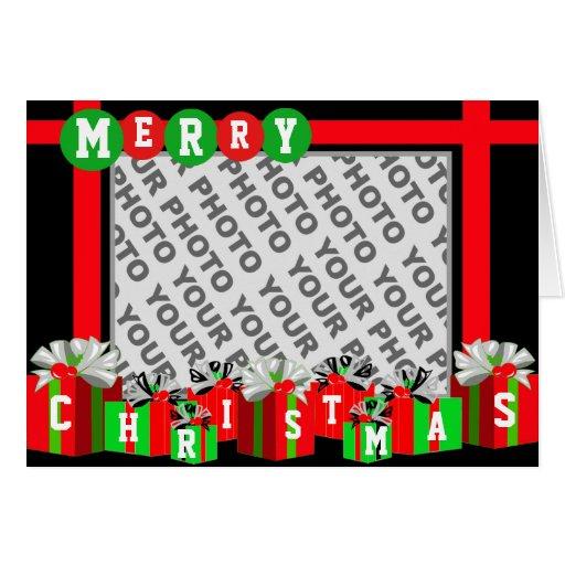 Add photo merry christmas card gift box zazzle