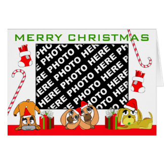 Add Photo Merry Christmas Card Puppy Family 3
