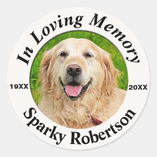 Add Photo Pet Memorial Classic Round Sticker