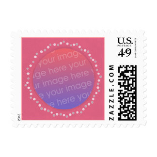Add photo pink frame with dots, postage stamps