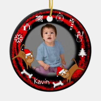 Add Photo Puppy Red Ornament