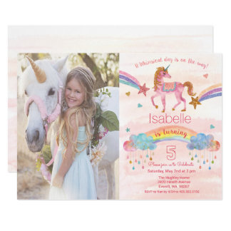 Add Photo Rainbow Unicorn Birthday Invitation