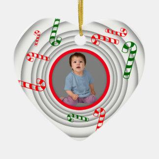 Add Photo Retro Candy Cane Ornament