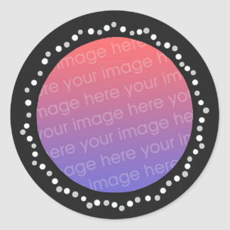 Add photo stickers, gray dots black circle frame classic round sticker