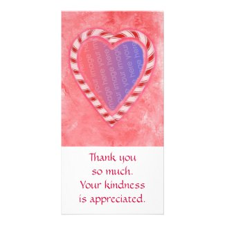 Add Photo thank you cards, Christmas candy heart Customized Photo Card