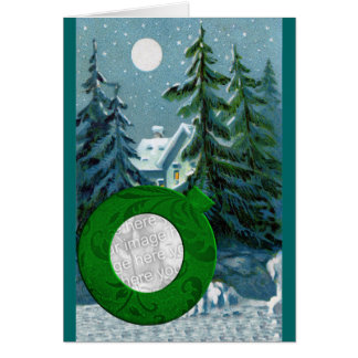 Add Photo Vintage Country Snow Scene Christmas Card