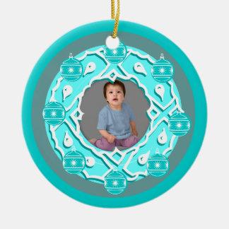 Add Photo Wreath Ornament Blue Pink