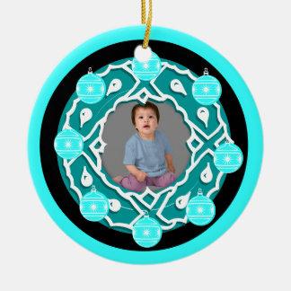 Add Photo Wreath Ornament Blue Pink 2