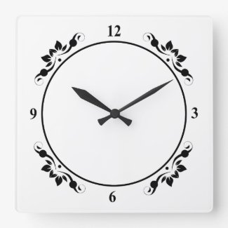 Add Picture, Art, Decorative White with Black Face Square Wall Clock