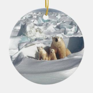 Add SLOGAN to Save Arctic Polar Bears Planet Ice Ceramic Ornament