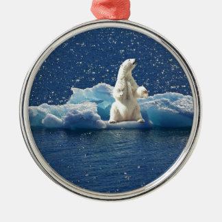 Add SLOGAN to Save Polar Bears Arctic Planet Ice Metal Ornament