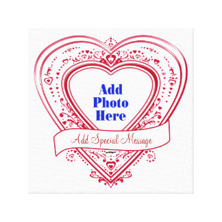 Add Special Message Photo Red Hearts Canvas Print