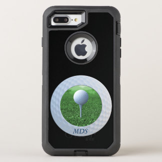 Add Square Photo to Golf Ball Frame Monogram Black OtterBox Defender iPhone 7 Plus Case