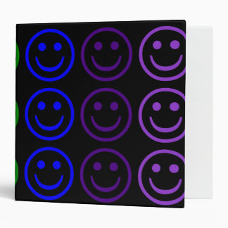 Add Text & Images Gifts: Rainbow Smiley Faces 3 Ring Binder