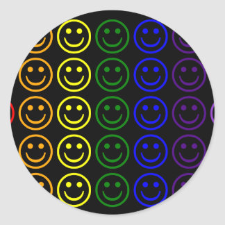 Add Text & Images Gifts: Rainbow Smiley Faces Classic Round Sticker